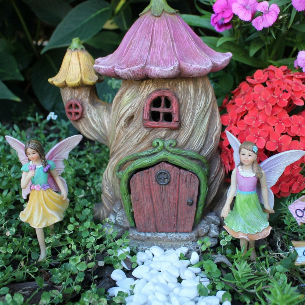 "Fairy Garden Fairy House – Accessories Kit with Miniature Garden Fairies – House is 7""(18cm) High – Door can open wide – Supplies by Pretmanns"