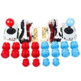 EG Starts 2 Player USB Controller to PC Game 2X 5Pin Stick + 4X 24mm Push Button + 16x 30mm Buttons for Arcade Games DIY Kits Parts Mame SNK KOF & Red/Blue