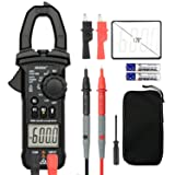 Digital Clamp Meter Multimeters MESTEK AC DC Multimeter Current Voltage Voltmeter Autoranging Electric Tester Ohm Hz Amp Volt Diode Resistance 6000 Counts NCV VFC Accurate Test Kit (Color: Black, Tamaño: 191*70*31mm)