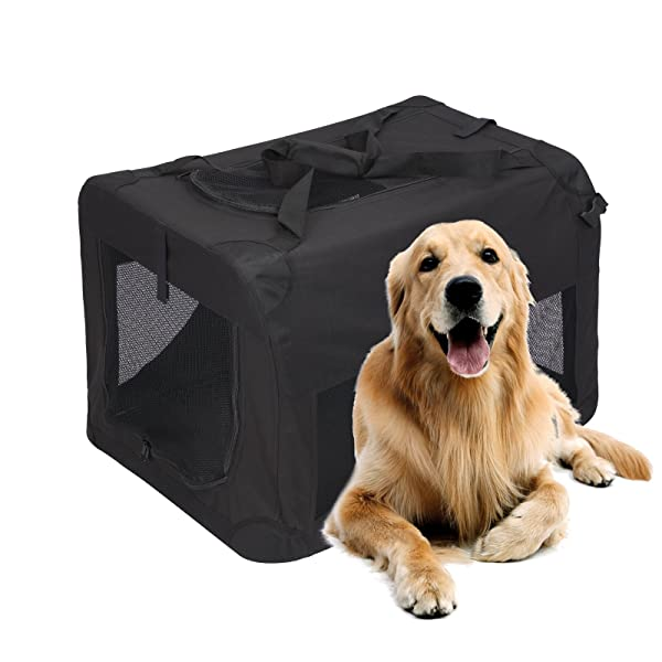 Magshion Portable Crates Kennels Fabric Transport with Sturdy Metal Frame Metal Cages (XXXL-48, Black) (Color: Black, Tamaño: XXXL-48)