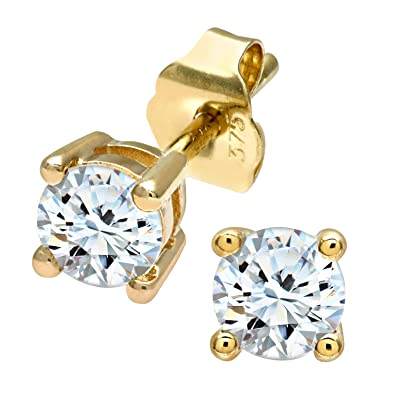 Naava 0.50 Carat Single-Stone J-I2 Diamond Earrings on 9ct-0.25 Carat each earring