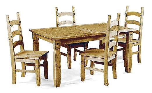 Mercers Furniture Corona Esstisch mit 4 Stuhlen, Holz, antiquität wachs, 152 x 90 x 78 cm