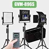 GVM LED Video Light and Stand Lighting 3 Kit, Dimmable Bi-Color 896pcs Photography Lights Aluminum Alloy Heat Dissipation Shell with Suitcase, Adapter, Soft Diffusion Filter, Barn Door,Black 54W … (Tamaño: 896S 3 kit)