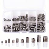 WINGONEER M3 M4 M5 M6 M8 Stainless Steel Allen Head Socket Hex Set Grub Screw Assortment Cup Point - 200pcs