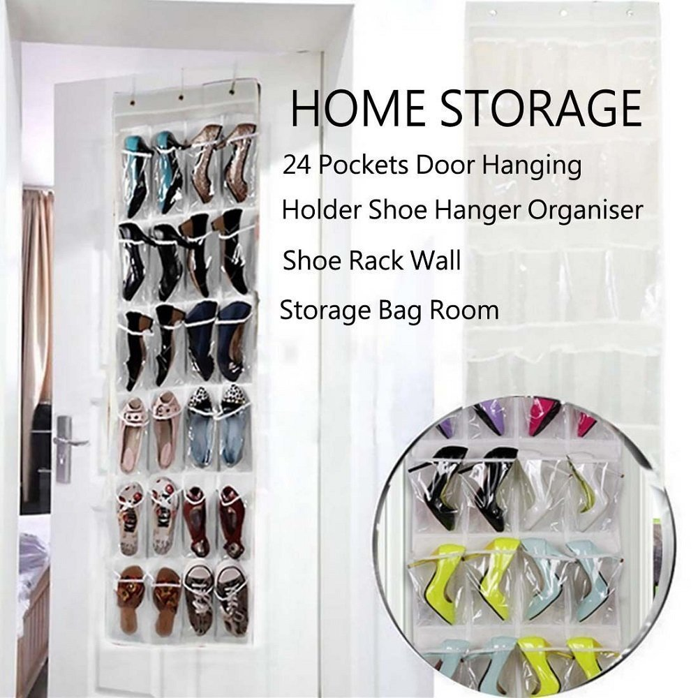 Aotuno Over the Door Shoe Organizer - 24 Reinforced Pockets(gray).