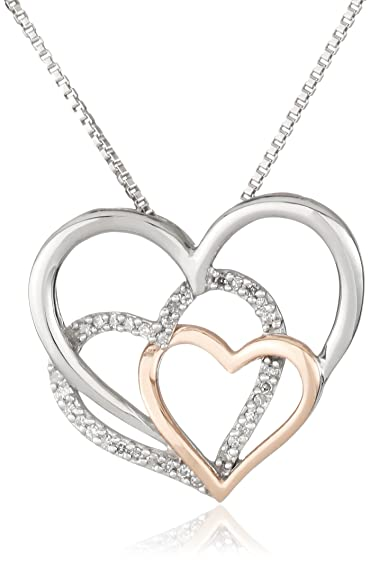 XPY Sterling Silver and 14k Rose Gold Diamond Triple Heart Pendant Necklace, 18″ $99.00