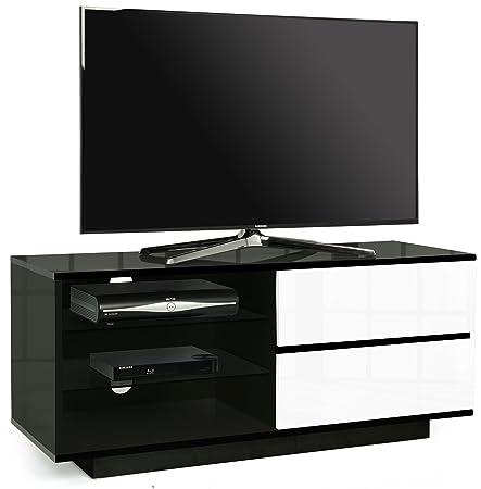 """Centurion Supports Gallus Alto brillo negro de 4 cajones y 3 estantes de 26 """"-55"""" OLED / gabinete de la TV LED / LCD (blanco)"""