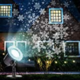 Christmas Projector Lights Outdoor Moving Snowflakes LED Christmas Lights, Waterproof Projector Decorating Stage Light, Indoor Outdoor Snowfall Holiday Party Garden Landscape Lamp (Color: Black)