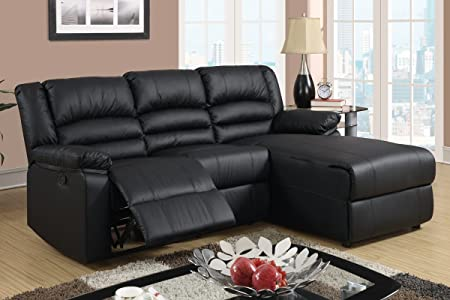 Bobkona Recliner Sectional Set in Black Bonded Leather - Right Chaise by Poundex