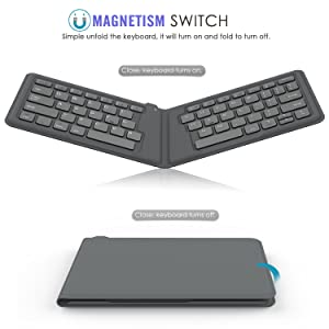 MoKo Universal Foldable Keyboard, Ultra-Thin Portable Wireless Bluetooth Keyboard for iPad, iPhone, Compatible with iOS, Android and Windows Tablet Devices, Gray (Color: Grey)