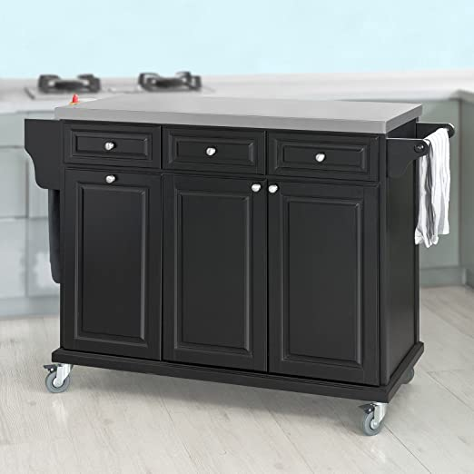 SoBuy® FKW33-SCH, Black Luxury Kitchen Island Kitchen Storage Trolley Cart, Kitchen Cabinet with Stainless Steel Worktop