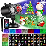 Christmas Projector Lights with Ocean Wave Outdoor Holiday Decorations,Halloween Led Projector Lights 2-in-1 Moving Patterns and Flowing Water Ripple,12 Slides Waterproof Xmas Snow Light Party Garden (Color: Black)