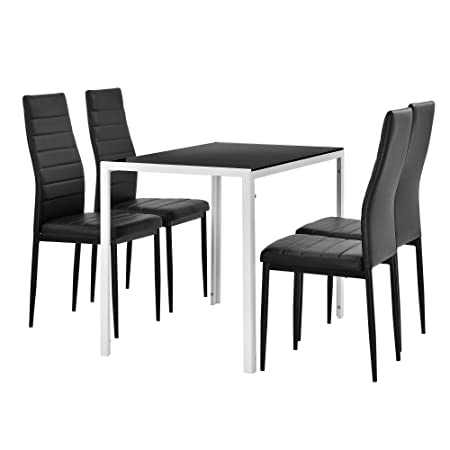 [en.casa] Juego de comedor moderno mesa blanco/ negro + 4 sillas negras piel sintética