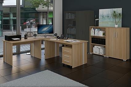Buromöbel, Arbeitszimmer Set 6-teilig Dekor Buche