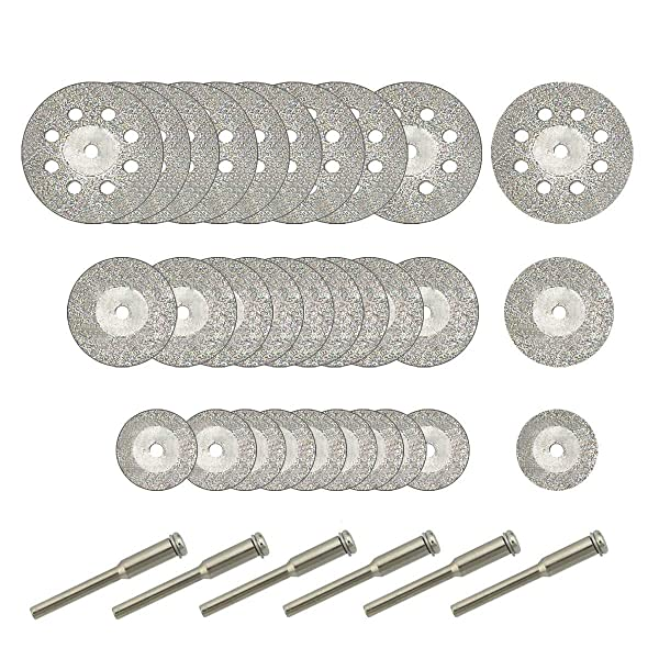 30 Pcs Diamond Cutting Wheel (25mm/20mm/16mm Each 10), Diamond Coated Cutting Wheel and 6pcs 3mm Mandrel For Dremel Rotary Tool