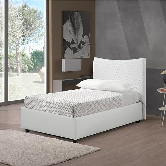 Luna Sararreda - Letto Singolo con Vano Contenitore, Imbottito e con Rivestimento in Ecopelle - Colore Bianco - Made in Italy