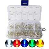 LED Diode, CO RODE 3mm 5mm LED Lights Emitting Diodes Assorted Clear Bulbs Kit with ( Bright White Red Blue Green Yellow LED, 300-Pack)