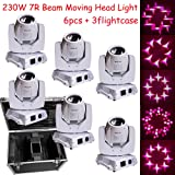 Shipping from US White shell 230w 7R sharpy moving head beam dj spot lighting 6pcs with 3 fly case