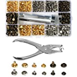 300 Set 2 Sizes Leather Rivets Double Cap Rivet Tubular Metal Studs with 4 Pieces Fixing Tool for DIY Leather Craft, Rivets Replacement,3 Colors (Color: Silver, Tamaño: 300 Set)