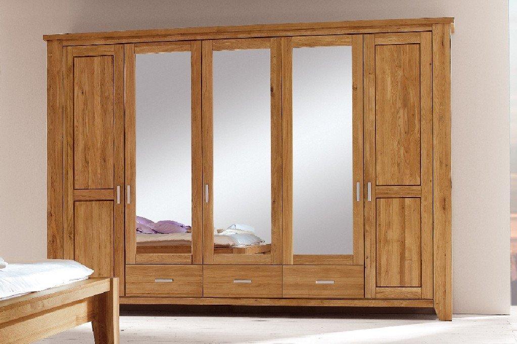 Firstloft 101-0500 Donna Kleiderschrank 5-türig, 309 x 218 x 59 cm, wildeiche natur, gewachst-geölt