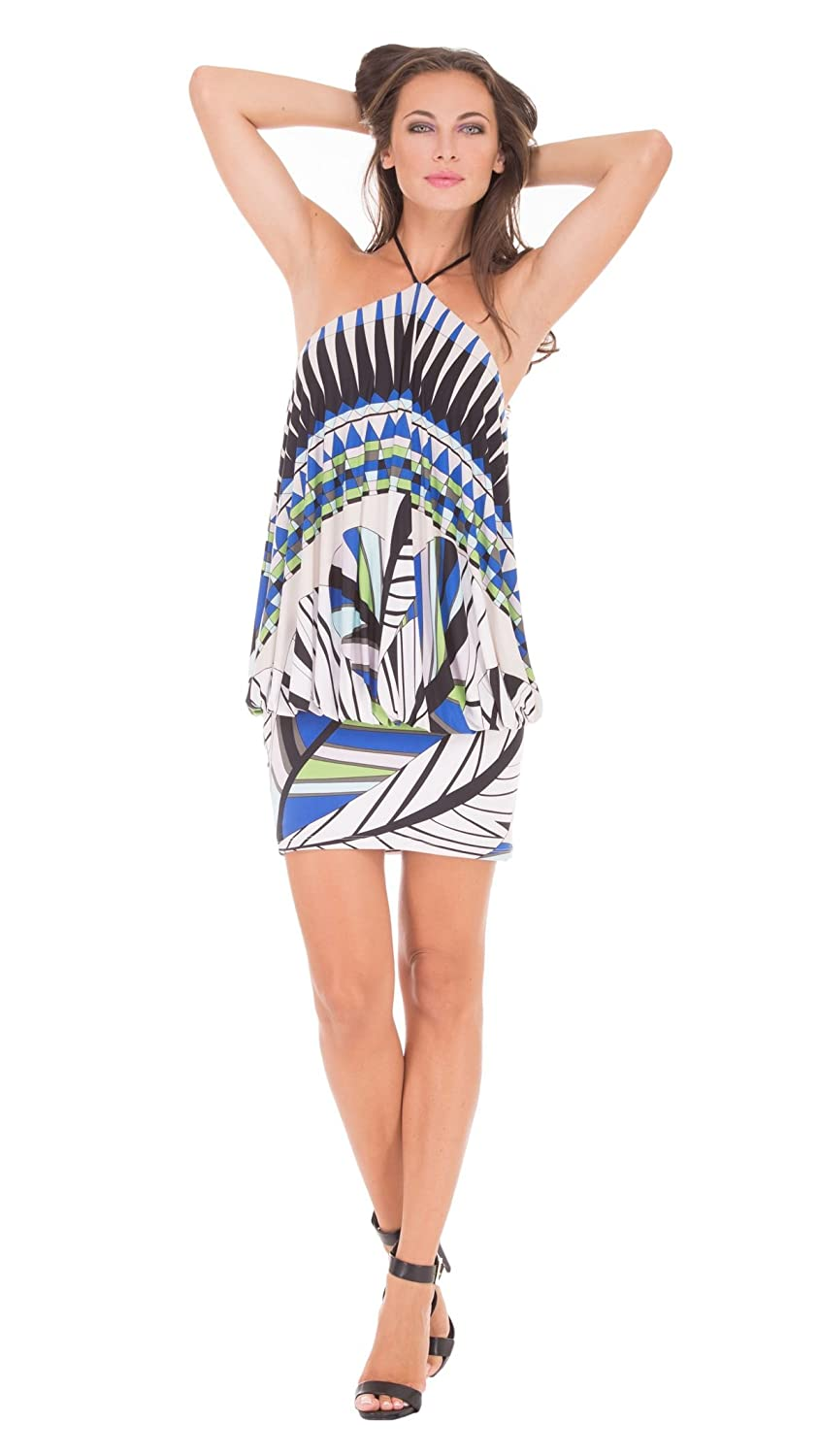 analili Rita Blue Green Ivory Abstract Print Blouson Halter Dress блуза analili цвет черный белый