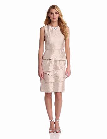 London Times Women's Sleeveless Tiered Skirt Dress, Oyster, 4