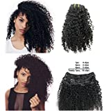 Ms Fenda Brazilian Remy Virgin Hair Kinky Curly 3B 3C Natural Color African American Clip In Hair Extensions 120Gram 7Pcs/Set(16