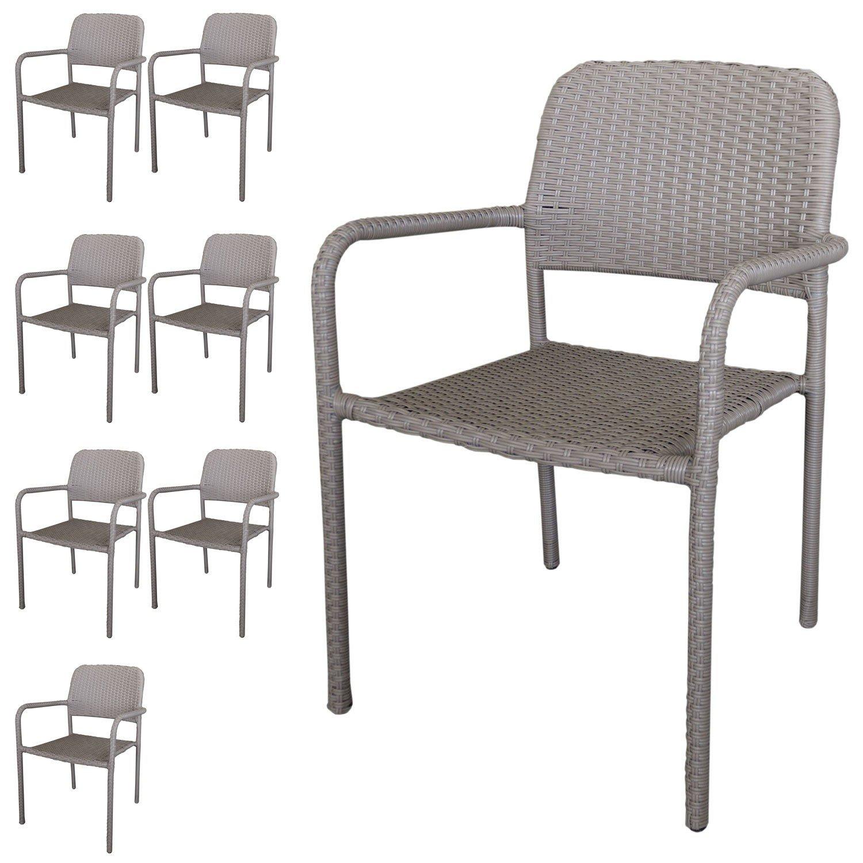 8 Stück Stapelstuhl Rattanstuhl - Gartenstuhl Set stapelbar mit Polyrattanbespannung in Taupe - Gartensessel Gartensitzmöbel