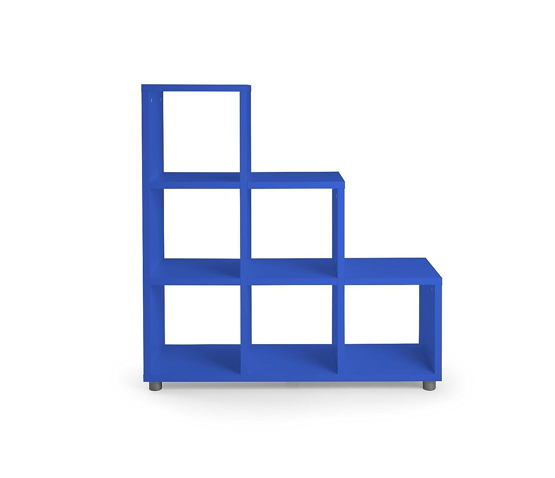 Tenzo 1836-003 Box Designer Stufenregal Holz, blau, 35 x 109 x 113 cm