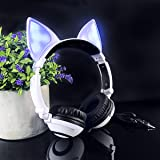 LIMSON Over Ear Headphones,Stereo Wired Kids Headphones with LED Light for Cell Phones (White) (Color: White)