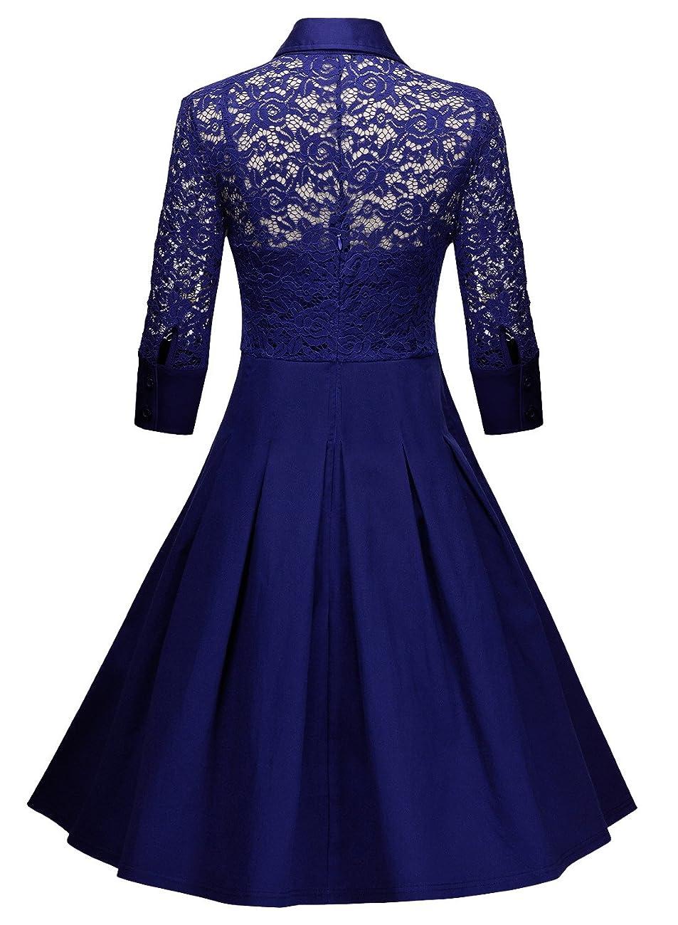 Missmay Women's Vintage 1950s Style 3/4 Sleeve Black Lace Flare A-line Dress 3