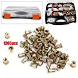 TBVECHI Nutsert Tool 1200 Pcs Nutsert Tool Kit M3-M12 Stainless Steel Hand Riveter Rivnut Nut Insert, M3-M12 Steel Ribbed, M4-M6 Stainless Steel Ribbed, M3-M6 Aluminum Ribbed