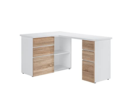 MAJA-Möbel 9543 3925 writing and computer desk Icy White / Imitation Sonoma oak, Dimensions (W x H x D): 145 x reaching 76.6 x 40 CM