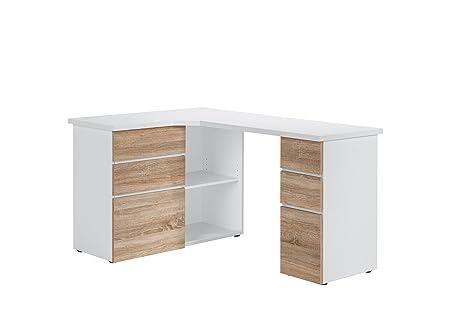 Maja de meubles 95433925Bureau et Table pour ordinateur, Icy/Blanc-Imitation chêne Sonoma, dimensions LxHxP: 145x métallique 76,6x 101,5cm