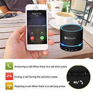 Wireless Bluetooth Speaker - Forcovr Mini LED Best Multi-Function Portable Indoor Outdoor Stereo Bluetooth Speakers Bass HD Surround, Built-in Microphone, FM Radio, Handsfree Call, AUX Input (Color: Black, Tamaño: FOR-C007)