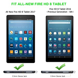 Fire HD 8 Case - Zerhunt Ultra Light Slim Fit Protective Cover with Auto Wake/Sleep For Fire HD 8 Tablet (2017/2016 Release,7th/6th Generation) Black (Color: #01 Black, Tamaño: 8 Inch)