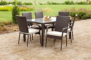 MERXX Gartenmöbel-Set Catanzaro 13-tgl. Sessel inkl. Sitzkissen und Tisch 140x80 cm