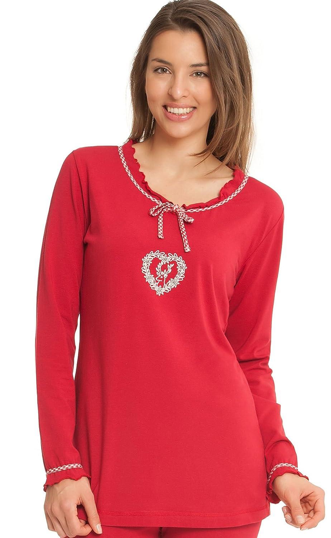 Damen Pyjama Schlafanzug lang rot mit Hirschstickerei und karierter Hose jetzt bestellen