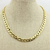 Tool Gadget Fake Gold Chain Necklace, Super Luxury and Looks So Real. Stainless Steel Gold Flat Chain Curb Chains 10mm (24 inches), Fake Gold Coating Never Fade (Color: Golden, Tamaño: 24)
