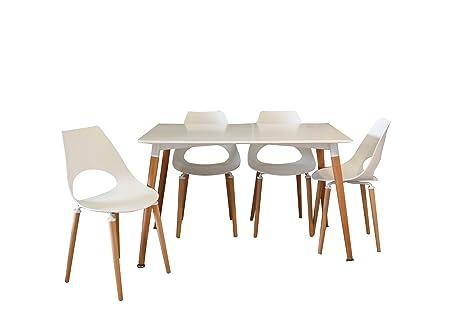 Conjunto mesa Eames blanca 120 x 80 cm. + 4 silla623