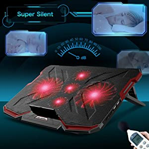 Mkocean 5 Fans Laptop Cooling Pad, Portable Ultra-Slim Laptop Cooler, with Red LED Light, Dual USB 2.0 Ports, Adjustable Mount Stand, Super Quiet and Strong Wind Speed Designed for Gamers and Office