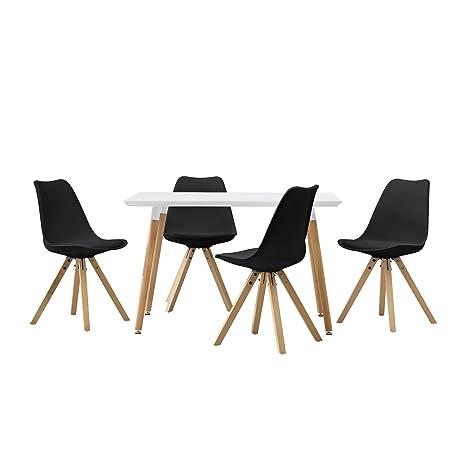[en.casa] Esstisch mit 4 Stuhlen schwarz gepolstert 120x80cm Kunstleder Esszimmer Essgruppe Kuche