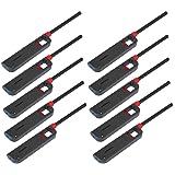 Makerstep 10 Pack Refillable Lighter For Kitchen Camping Grilling BBQ Home Adjustable Flame (Color: Black)