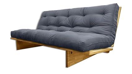 Sofá cama Yokahoma, Natural, Futon Gris, 200x120x24 cm