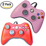 FSC Mixed Pack of 2 USB Wired Game Pad Controller for Use With Xbox 360, Windows 10 5 Colors (Red/Pink)