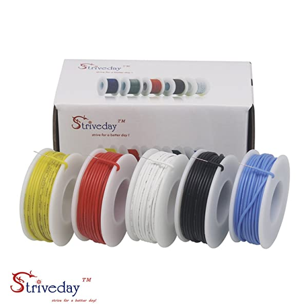 Striveday™ 22 AWG Flexible Silicone Solid wire Kit box Electric wire ...