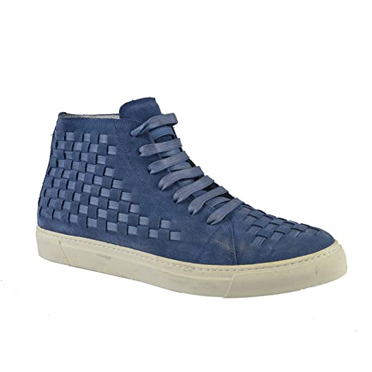 Marc-Jacobs-Men-s-Blue-Suede-Woven-Hi-Top-Sneakers-US-11-IT-10-EU-44