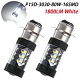 TABEN Extremely Bright 1800LM P15D H6M 80W High Power LED Motorcycle Driving Fog Tail Headlight Light Motorbike Lamp Bulb White 12-24V (Pack of 2)