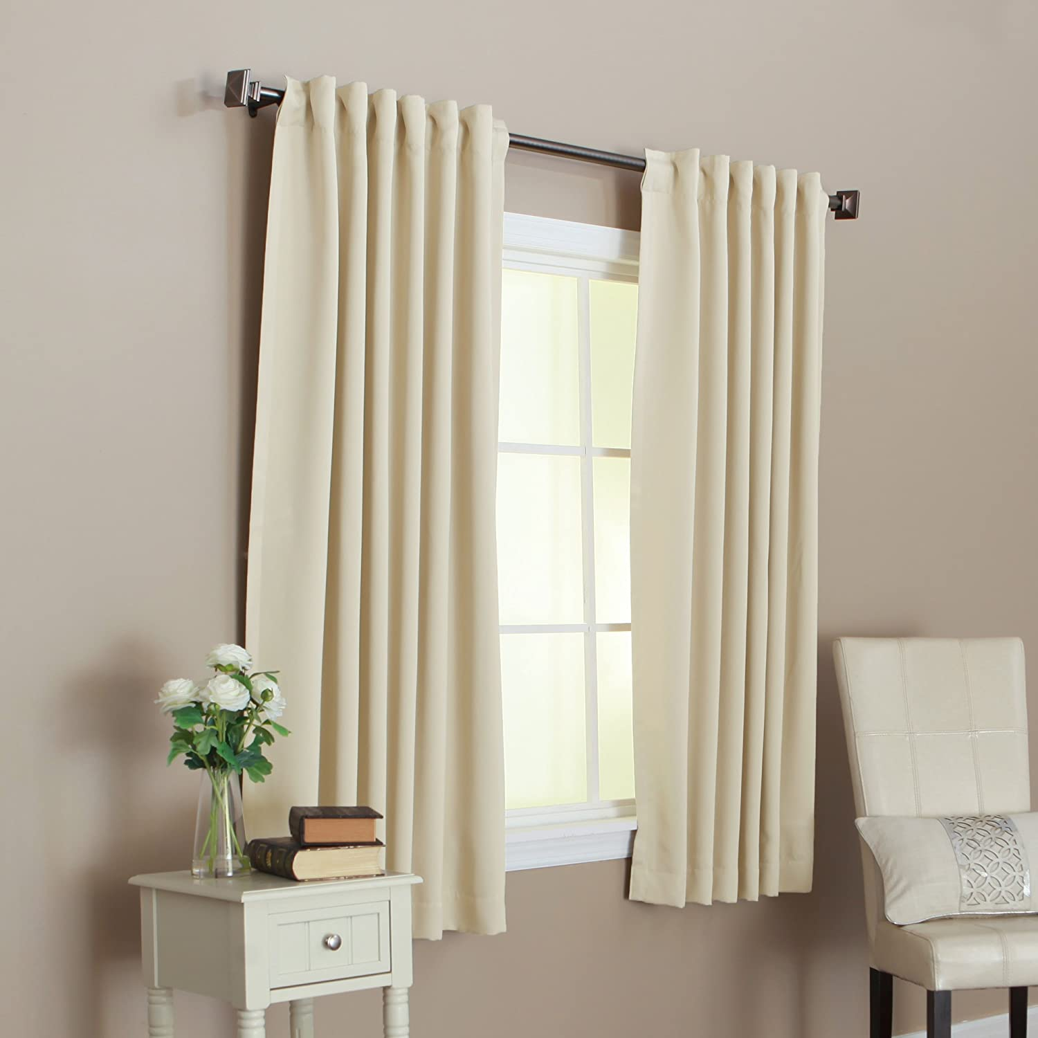 """Amazon Curtains Blackout: Solid Thermal Insulated Back Tap Blackout Curtain 52""""W X 63""""L, 1 Set, Beige , N"""