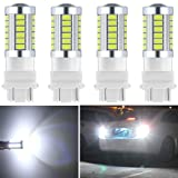 Botepon 4Pcs 3157 T25 3056 3156 3057 Led Reverse Light, 5630 33-SMD 900 Lumens 8000K Extremely Bright Led Bulb for Car Led Backup Reverse Lights Tail Brake Stop Lamp 12V White (Color: White, Tamaño: 4PCS 3157)